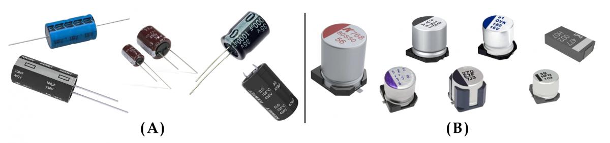 Resim 1: (A) Bir dizi THT alüminyum elektrolitik kondansatörün gösterilmesi. (B) Bir dizi SMT alüminyum elektrolitik kondansatörün gösterilmesi.